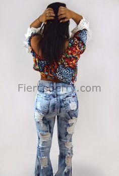 High Waist Distress Frost Tie Dye Wash Jeans