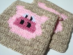 Country Pig Potholders - Crochet Rustic, Country Farm Animal, Pig Potholder, Pot Holders, Hotpads, Hot Pads, Trivet Set of Two - Kitchen by Hoooked, $16.00