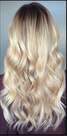 long layers & waves. golden wheat blonde.