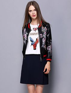 Chic round neck leather biker jacket/ bomber with floral print. Get one at €39.19
