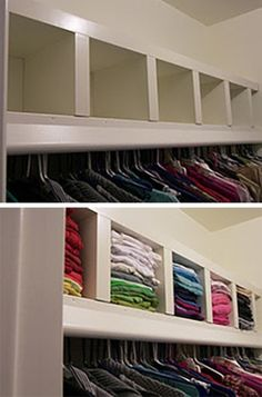 Space Savers: IKEA Hacks for Small Closets Saundra from Lil Lamb Lost used a LACK shelf to add an extra layer of shelving to her closet — and create a row of cubbies perfect for storing folded clothes. Ikea Lack Wall Shelf, Lack Shelf, Wall Shelf Unit, Wall Shelves, Bedroom Shelving, Ikea Shelf Hack, Bedroom Storage, Ikea Closet Storage, Ikea Lack Hack