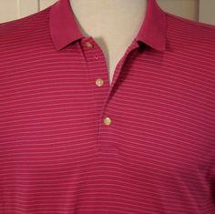 Mens XXL 2XL Callaway Hot Pink Pin Striped Golf Polo Cruise Shirt Fine Cotton #Callaway #ShirtsTops