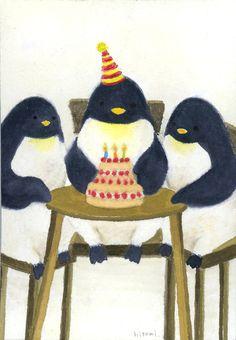❄ Penguin Yen ❄   penguin birthday party illustration | Hitomi Inoue