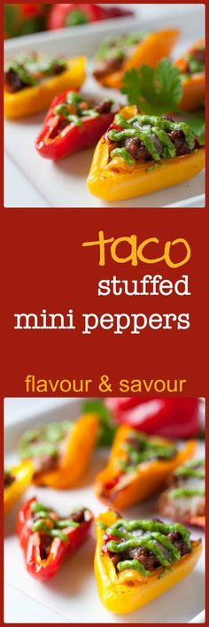Taco Stuffed Mini Peppers. Little bites filled with taco meat and cheese and topped with avocado cream. Great party snack.