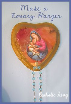 How to make a Rosary hanger craft with kids. These cost less than a dollar each to make!