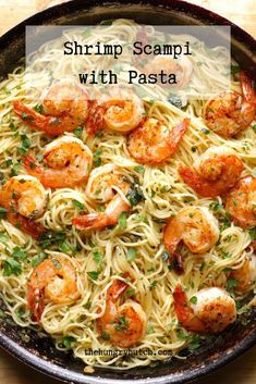 This recipe has all of the things I love: shrimp, butter, garlic, spice, lemon juice, pasta, and wine. It may look fancy, but it's much simpler to prepare than one might think. Shrimp Scampi Pasta, Shrimp Pasta Recipes, Seafood Recipes, Fish Recipes, Pork Recipes, Easy Soup Recipes, Dinner Recipes, Cooking Recipes, Soups