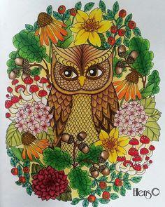 Instagram media ellenscolorings - Autumn owl #owl #autumn #blomstermandala…