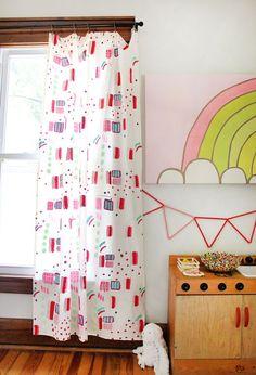 Hand-painted abstract curtains from @abeautifulmess. #abeautifulmess #diy #homediy