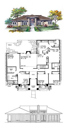 Prairie House Plan 95039 | Total Living Area: 2274 sq. ft., 3 bedrooms and 2 bathrooms. #houseplan #prairiehome