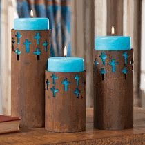 Rustic Cross Candle Holders with Turquoise Candles (Set of 3)