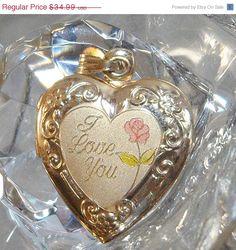 ON SALE Vintage Heart Locket Pendant. 14k Gold Plated. I by waalaa, $29.74