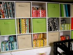 What a great idea for storing fabrics, fat quarters and scraps, from Sew Kind Of Wonderful