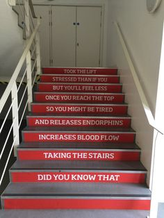 Motivational stair graphics at Salford University Clinic Design, Gym Design, Stairs Graphic, Decorating Stairway Walls, School Signage, Hospital Signage, Stair Art, Health And Wellness Center, Gym Interior
