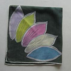 Hankie Handkerchief Hunter Green Pastel Flowers