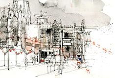 Manchester at Christmas as drawn by Simone Ridyard of Urban Sketchers