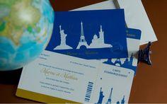 Faire part Voyage Billet d'avion Mariage Création sur mesure /// Wedding invitation L'Atelier d'Elsa www.latelierdelsa.com