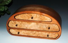 Maple Burl on Cherry Handcrafted Wooden Nadia Jewelry Box