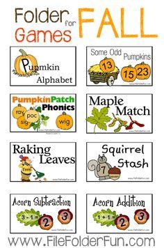Fall File Folder Games: Pumpkins, Leaves, Apples, Thanksgiving.  Free from File Folder Fun.