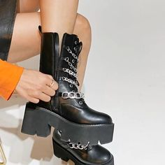 Women's Motorcycle Boots, Biker Boots, Punk Women, Baddie Outfits Casual, Platform Boots, Mid Calf Boots, Metal Chain, Wedge Shoes, Fashion Shoes
