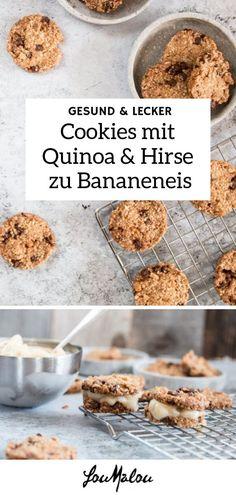 Ein süsser Snack darf durchaus auch gesunde Komponente enthalten. Diese Cookies haben Schokostücke drin, aber eben auch Hirse und Quinoa. Das Bananeneis ist nicht zwingend, aber ein nettes Supplement um die Cookies darin zu tunken oder es als Sandwich zu tarnen. Dieses und weitere süsse Snackrezepte gibt's auf LouMalou.ch. #einfacherezepte #schnellerezepte #dessert #nachspeise #gesundesnacks