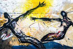 Street graffiti showing abstract human portrait