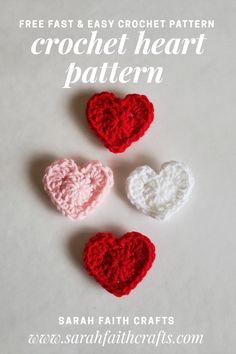 Free Crochet Pattern: Little Valentine's Day Hearts Free Heart Crochet Pattern, Crochet Applique Patterns Free, Holiday Crochet Patterns, Free Crochet, Crochet Hearts, Crochet Ideas, Crochet Fish, Crochet Wraps, Crochet Owls
