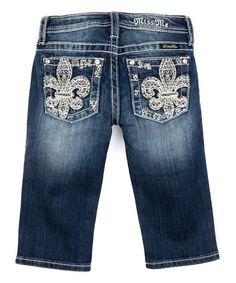 Dark Wash Fleur-de-Lis Denim Capri Jeans - Girls | zulily