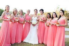 Coral bridesmaid dresses. I love the color of these dresses. I was thinking i wanted knee length for my bridesmaids, but i really like how these dresses are long.