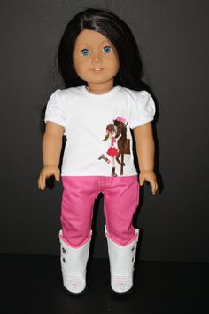 """American Girl 18"""" Doll Cowgirl Shirt with Pink Skinny Jeans and Cowboy Boots"""