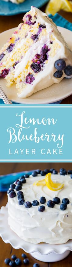 Deliciously sweet and light Lemon Blueberry Layer Cake. Tangy cream cheese frosting gives each bite a sweet touch! Recipe on sallysbakingaddiction.com