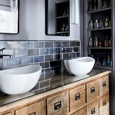 Modern rustic bathroom with twin basins and vanity unit