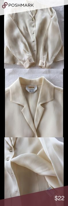 Talbot's silk blouse Beautiful, cream 100% silk blouse, no size label but it is M-L the crystal buttons add an extra layer of class to this well made blouse. No holes, stains, spots, tears, or smells. Freshly cleaned and ready to wear. Talbots Tops Blouses