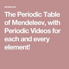 The periodic table of mendeleev with periodic videos for each and