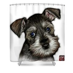 Salt And Pepper Schnauzer Puppy 7206 Fs Shower Curtain by James Ahn