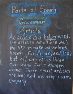 Waldorf ~ 4th grade ~ Grammar ~ Parts of Speech ~ chalkboard