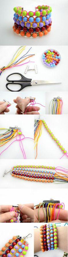 DIY Wide Beads Wristband