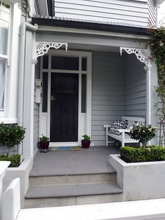 Exterior House Colours Decor in attachment with category Design Exterior Color Schemes, Grey Exterior, Cottage Exterior, House Color Schemes, House Paint Exterior, Exterior Paint Colors, Exterior House Colors, Interior Exterior, Exterior Design