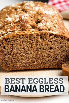 This is the best eggless banana bread recipe. You'll love this moist banana bread whether you have an egg allergy, have run out of eggs and. Banana Bread Without Eggs, Low Sugar Banana Bread, Banana Bread Cake, Moist Banana Bread, Vegan Banana Bread, Banana Recipes Without Eggs, Eggless Desserts, Eggless Recipes, Loaf Recipes