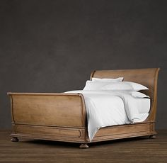 James Sleigh Bed With Footboard:Evoking the architectural classicism of turn-of-the-century design, St. James is grand in both scale and beauty. Wood Sleigh Bed, Sleigh Beds, Sleigh Bed Frame, Bedroom Furniture, Home Furniture, Bedroom Decor, Bedroom Stuff, Furniture Ideas, Condo Bedroom