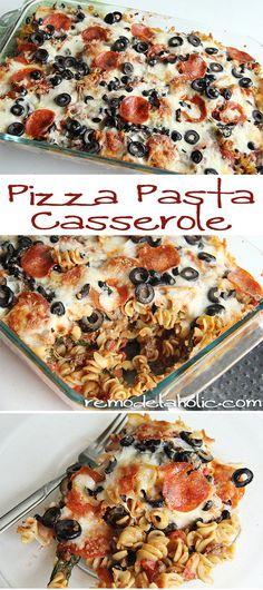 Pizza Pasta Casserole Recipe remodelaholic.com #pizza #recipe #pasta #freezer_meal