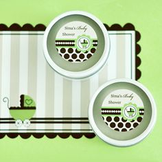 Personalized Round Candle Tins - Green Baby