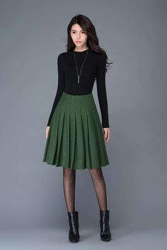 Green skirt/wool skirt/Pleated skirt/ winter midi skirt/ skater skirt/women's skirt C1031