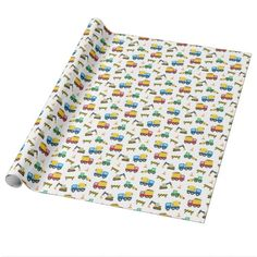 Colourful Construction Vehicles Pattern for Boys Wrapping Paper Construction Birthday Parties, Construction Theme, Construction Paper, Birthday Party Themes, Boy Birthday, Concrete Mixers, Custom Wrapping Paper, Gifts For Boys, Color Patterns