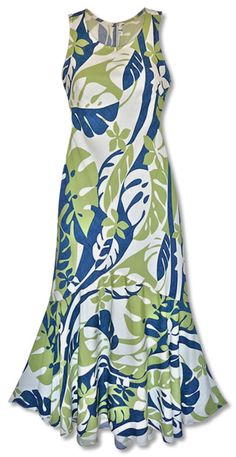 jazz ocean lehua hawaiian dress :: Long Floral Dress :: Hawaiian Dress :: Women :: Lavahut