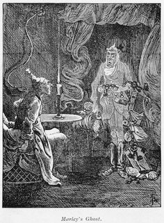 Marley's ghost appearing to Scrooge. Illustration for Charles Dickens (1812-1870) A Christmas Carol, London 1843-1844 - the real reasons Dickens wrote A Christmas Carol