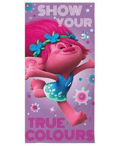Whether you're by the beach, at the pool or using it at bath time, this fantastic Trolls Glow Beach Towel is the perfect way to keep yourself warm and dry. Made from 100% cotton, this large towel features a great image of Poppy on a pretty purple patterned background with the words Show Your True Colours, perfect for any little Trolls fans!