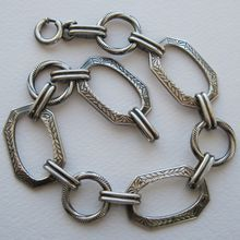 Sterling Art Deco  Link Charm  Bracelet