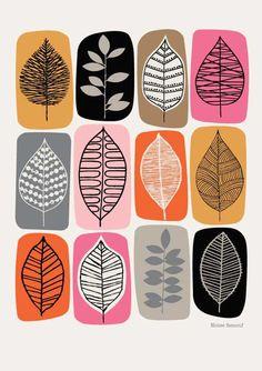 Blatt, Rosa Blöcke, Kunstdruck Blattmuster Siebdruck You are in the right place about Art Design, Textile Design, Fabric Design, Pattern Fabric, Leaf Design, Motif Design, Interior Design, Leaf Drawing, Drawing Flowers