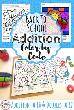 Color by code activities are so fun and engaging for my students! This set of back to school color by sum activities are great for math fact review, a math center, or even morning work! Practice addition within 10 and doubles to 12! Math Fact Practice| El