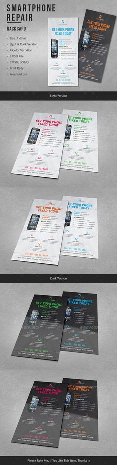 Smartphone Repair Service #RackCard - Corporate Flyers.Download here: https://graphicriver.net/item/smartphone-repair-service-rack-card/16881196?ref=arroganttype